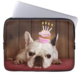 Protection Pour Ordinateur Portable Bouledogue français avec le petit gâteau
