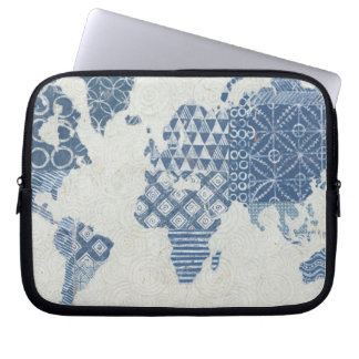 Protection Pour Ordinateur Portable Carte de batik de bleu d'indigo du monde