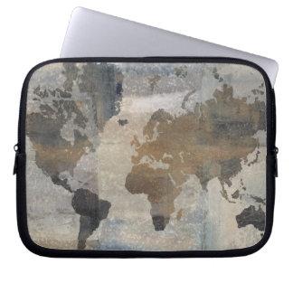 Protection Pour Ordinateur Portable Carte en pierre grise du monde