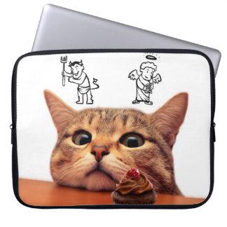 Protection Pour Ordinateur Portable Chat de petit gâteau - bon et le mauvais - ange et