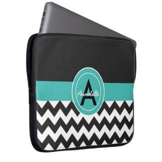 Protection Pour Ordinateur Portable Chevron turquoise noir