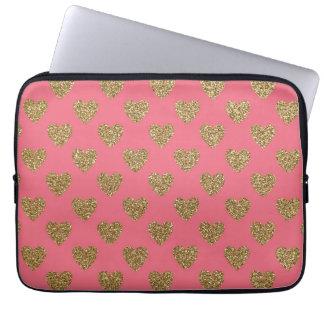 Protection Pour Ordinateur Portable Coeurs de scintillement de rose et d'or