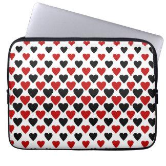 Protection Pour Ordinateur Portable Coeurs en noir et rouge