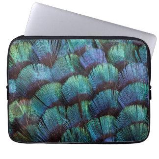 Protection Pour Ordinateur Portable Conception bleu-vert de plume de faisan