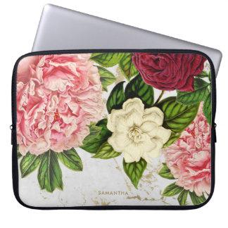 Protection Pour Ordinateur Portable Coutume florale vintage de marbre d'or