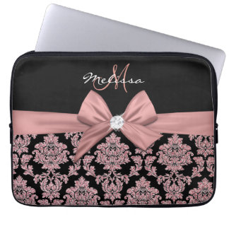 Protection Pour Ordinateur Portable Damassé rose de noir de parties scintillantes