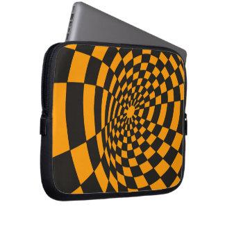 Protection Pour Ordinateur Portable Damier jaune et noir déformé