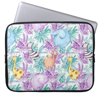 Protection Pour Ordinateur Portable Douille d'éléphant de zèbre de girafe