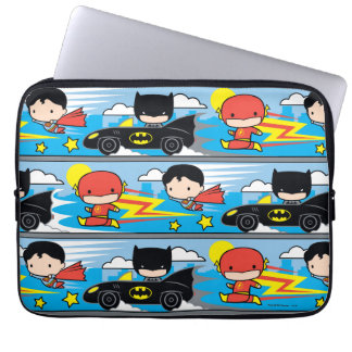 Protection Pour Ordinateur Portable Éclair, Superman, et Batman de Chibi emballant le