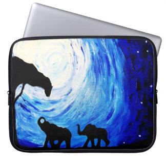 Protection Pour Ordinateur Portable Éléphants sous le clair de lune (art de