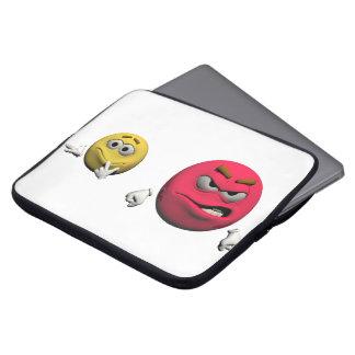 Protection Pour Ordinateur Portable Émoticône fâchée jaune et rouge ou smiley