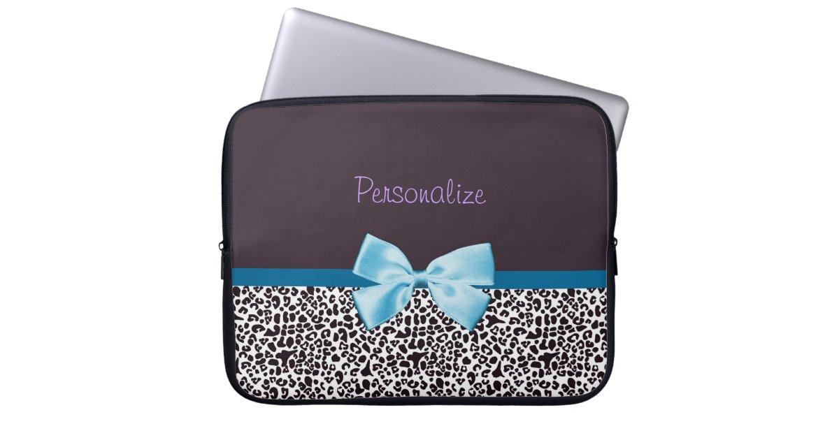 protection pour ordinateur portable empreinte de l opard la mode et ruban bleu avec. Black Bedroom Furniture Sets. Home Design Ideas