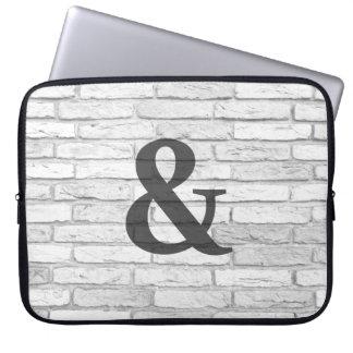 Protection Pour Ordinateur Portable Esperluète rustique blanche et grise de pays