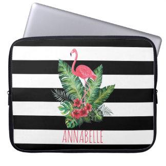 Protection Pour Ordinateur Portable Flamant d'aquarelle et rayures tropicaux de fleurs