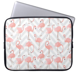 Protection Pour Ordinateur Portable Flamants et motif roses à la mode de chevrons