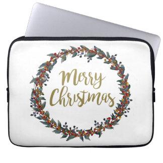 Protection Pour Ordinateur Portable Guirlande d'aquarelle - Joyeux Noël - branches