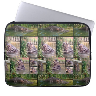 Protection Pour Ordinateur Portable Hippopotames dans un collage de photo,