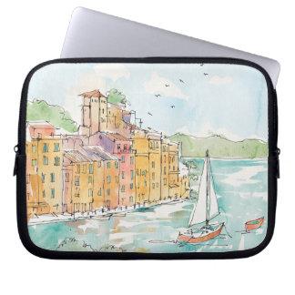 Protection Pour Ordinateur Portable Illustration de port de Porofino avec le voilier
