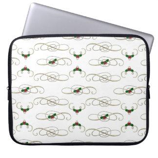 Protection Pour Ordinateur Portable Jolis remous et houx de Noël
