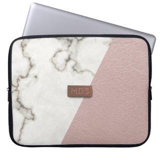 Protection Pour Ordinateur Portable Le Faux rougissent douille de marbre en cuir rose