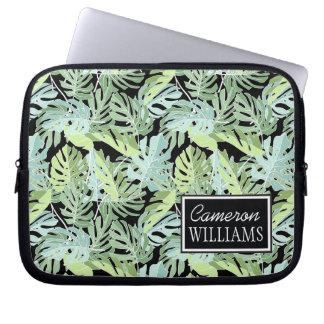Protection Pour Ordinateur Portable Le motif floral | de jungle ajoutent votre nom