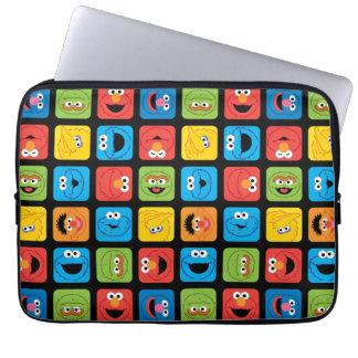 Protection Pour Ordinateur Portable Le Sesame Street a cubé le motif de visages