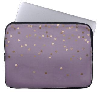 Protection Pour Ordinateur Portable les confettis roses d'or de charme élégant de