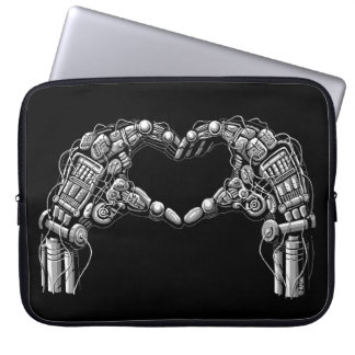 Protection Pour Ordinateur Portable Les mains de robot font la forme de coeur