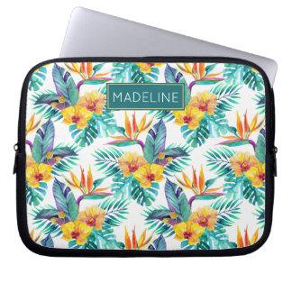 Protection Pour Ordinateur Portable L'oiseau du paradis et le motif   d'orchidée