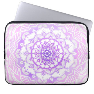 Protection Pour Ordinateur Portable Mandala de Bohème tribal dessinant le pourpre chic