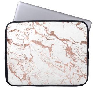 Protection Pour Ordinateur Portable Marbre rose de blanc d'or de faux chic moderne
