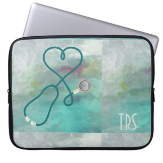 Protection Pour Ordinateur Portable Médecin ou infirmière d'aquarelle élégante