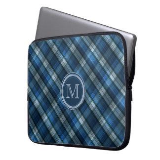 Protection Pour Ordinateur Portable Monogramme de motif de Chevron de bleu et de bleu