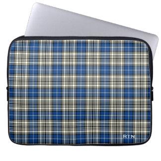 Protection Pour Ordinateur Portable Monogramme de plaid de bleu royal de tartan de