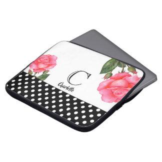Protection Pour Ordinateur Portable Monogramme floral botanique d'art de rose de rose