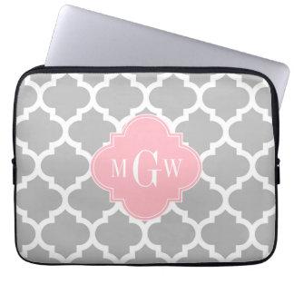Protection Pour Ordinateur Portable Monogramme initial du rose #5 3 de blanc gris