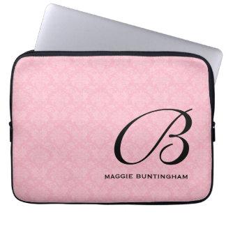 Protection Pour Ordinateur Portable Monogramme noir sur la damassé rose