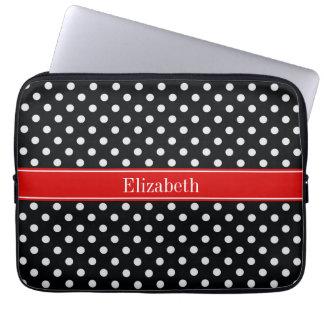 Protection Pour Ordinateur Portable Monogramme nommé rouge de pois noir et blanc