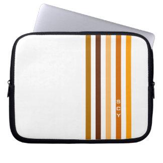 Protection Pour Ordinateur Portable Monogramme orange bronzage de rayures verticales