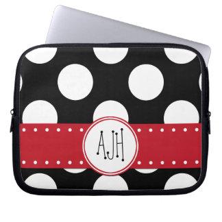Protection Pour Ordinateur Portable Monogramme - pois, motif pointillé - noir
