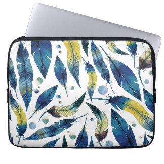 Protection Pour Ordinateur Portable Motif bleu de plumes d'oiseau d'aquarelle