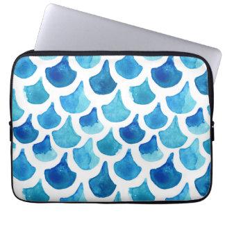 Protection Pour Ordinateur Portable Motif bleu d'échelle d'aquarelle