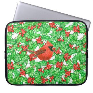 Protection Pour Ordinateur Portable Motif d'aquarelle de baie de cardinal et de houx