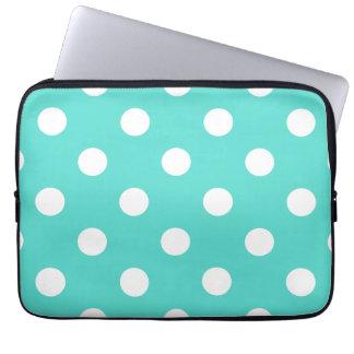 Protection Pour Ordinateur Portable Motif de point bleu turquoise de polka