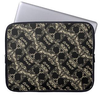 Protection Pour Ordinateur Portable Motif floral de crâne