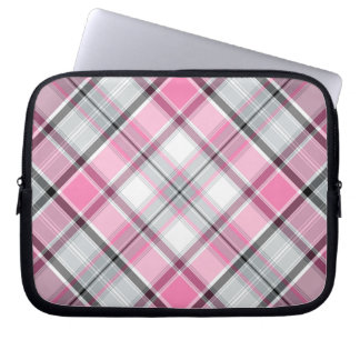 Protection Pour Ordinateur Portable Motif rose de plaid chic
