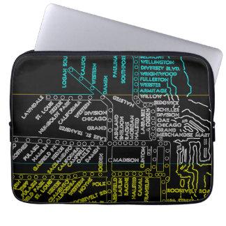 Protection Pour Ordinateur Portable NÉON vintage d'itinéraire de carte de système de