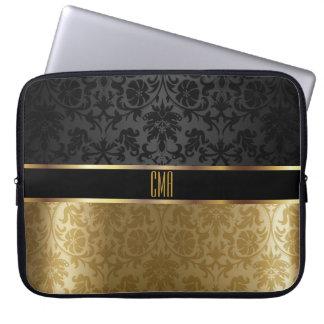 Protection Pour Ordinateur Portable Noir de damassé de monogramme avec de l'or floral