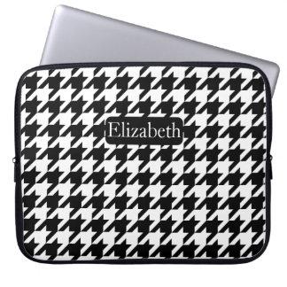 Protection Pour Ordinateur Portable Nom noir et blanc de pied-de-poule de mode