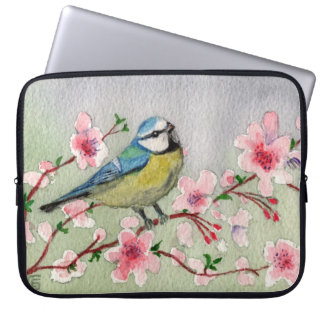 Protection Pour Ordinateur Portable Oiseau de mésange bleue sur la couleur pour